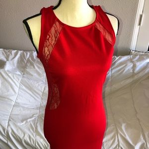 Red fitted, laced back, dress